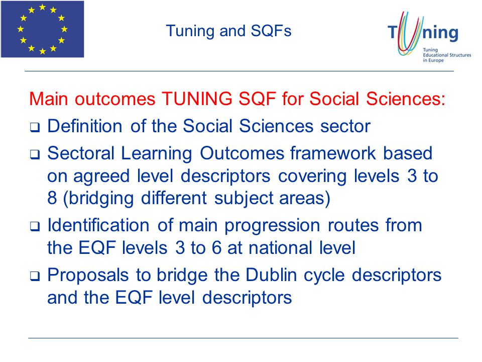 Main outcomes TUNING SQF for Social Sciences: