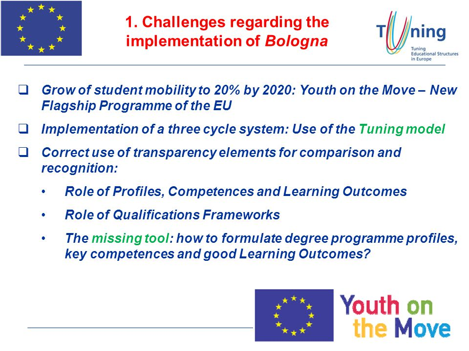 1. Challenges regarding the implementation of Bologna