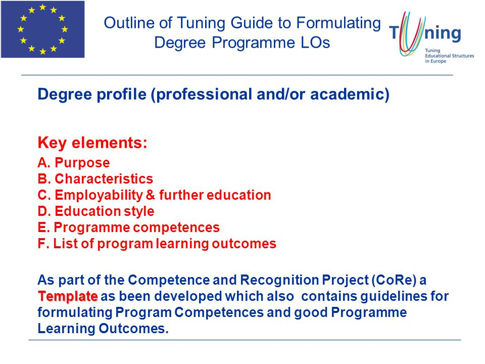 Outline of Tuning Guide to Formulating Degree Programme LOs