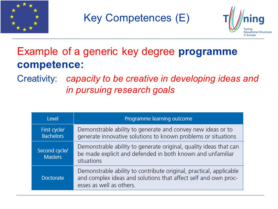 Example of a generic key degree programme competence: