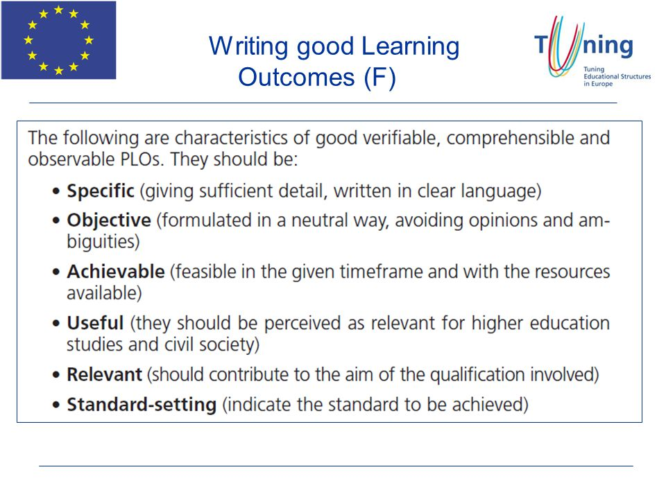 Writing good Learning Outcomes (F)