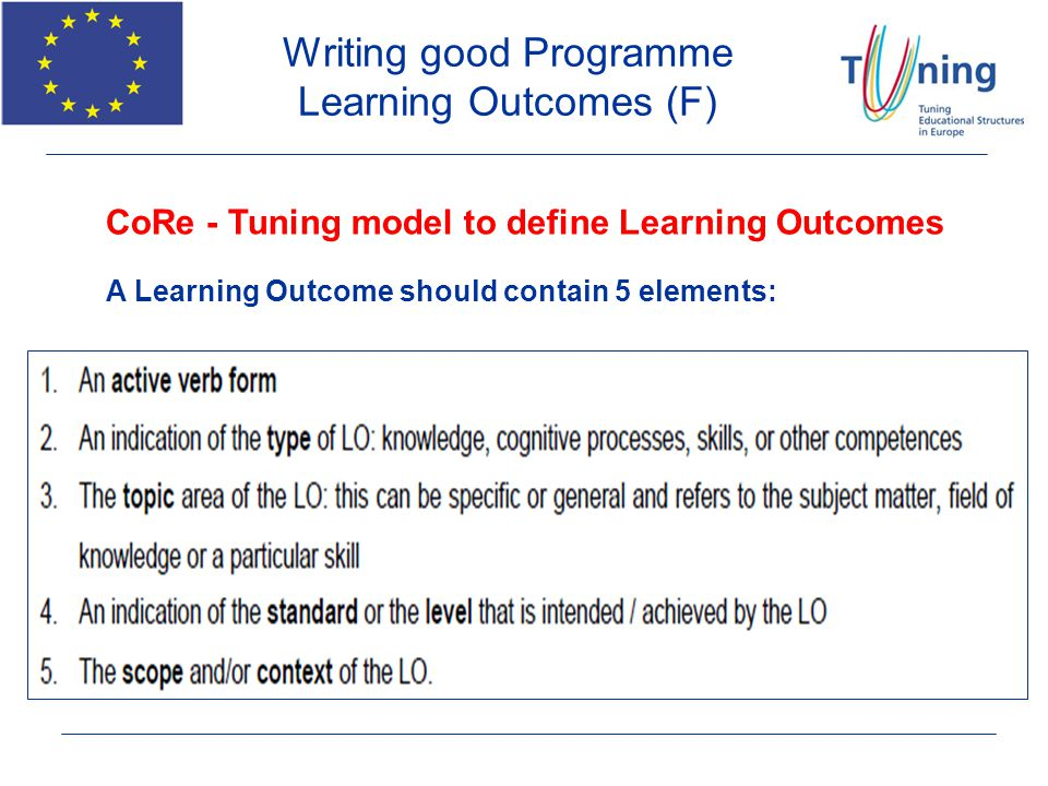 Writing good Programme Learning Outcomes (F)