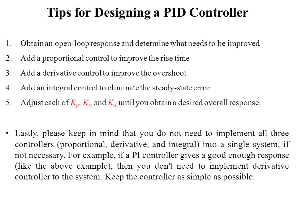 Tips for Designing a PID Controller