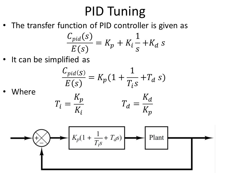 PID Tuning The transfer function of PID controller is given as