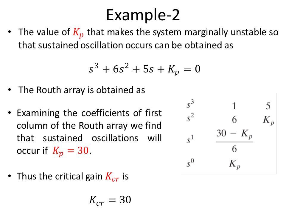 Example-2 𝑠 3 +6 𝑠 2 +5𝑠+ 𝐾 𝑝 =0 𝐾 𝑐𝑟 =30