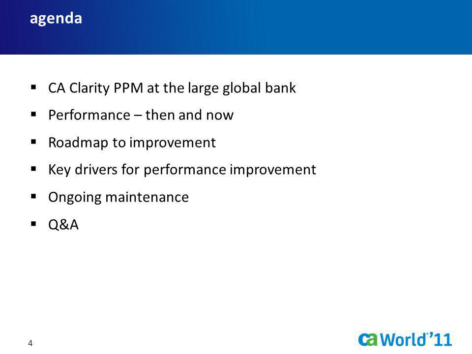 agenda CA Clarity PPM at the large global bank