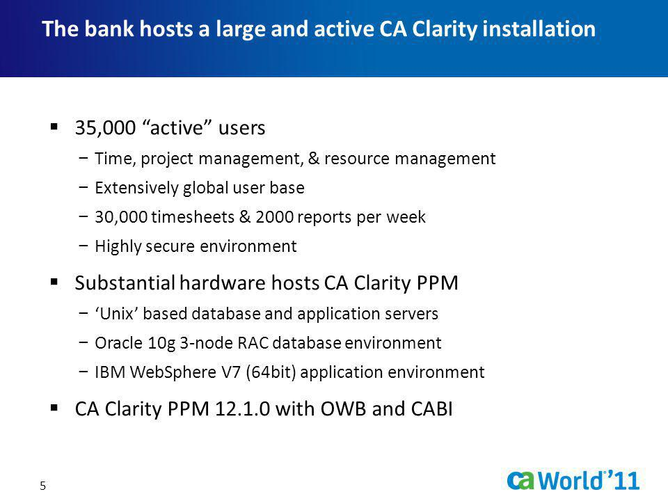 The bank hosts a large and active CA Clarity installation