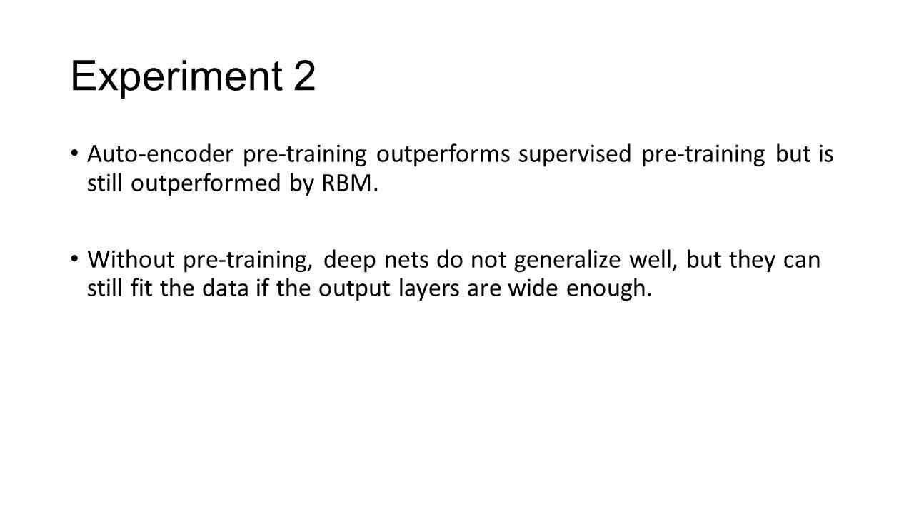 Experiment 2 Auto-encoder pre-training outperforms supervised pre-training but is still outperformed by RBM.