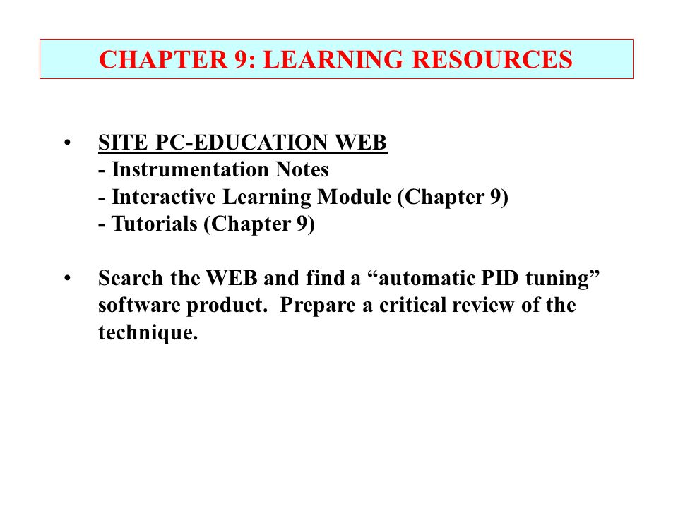 CHAPTER 9: LEARNING RESOURCES