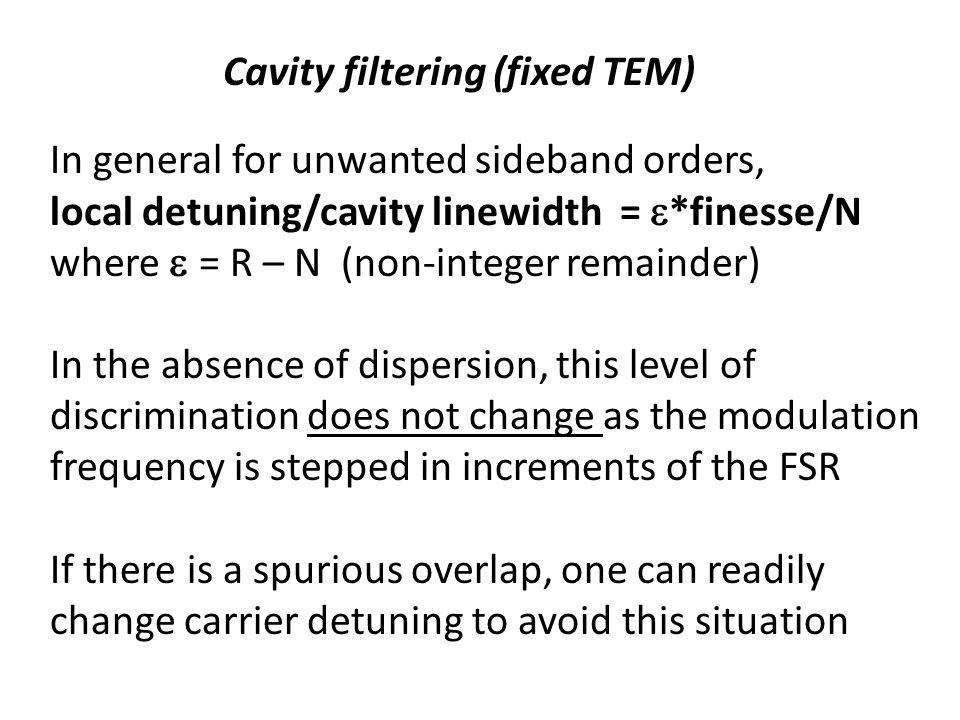 Cavity filtering (fixed TEM)