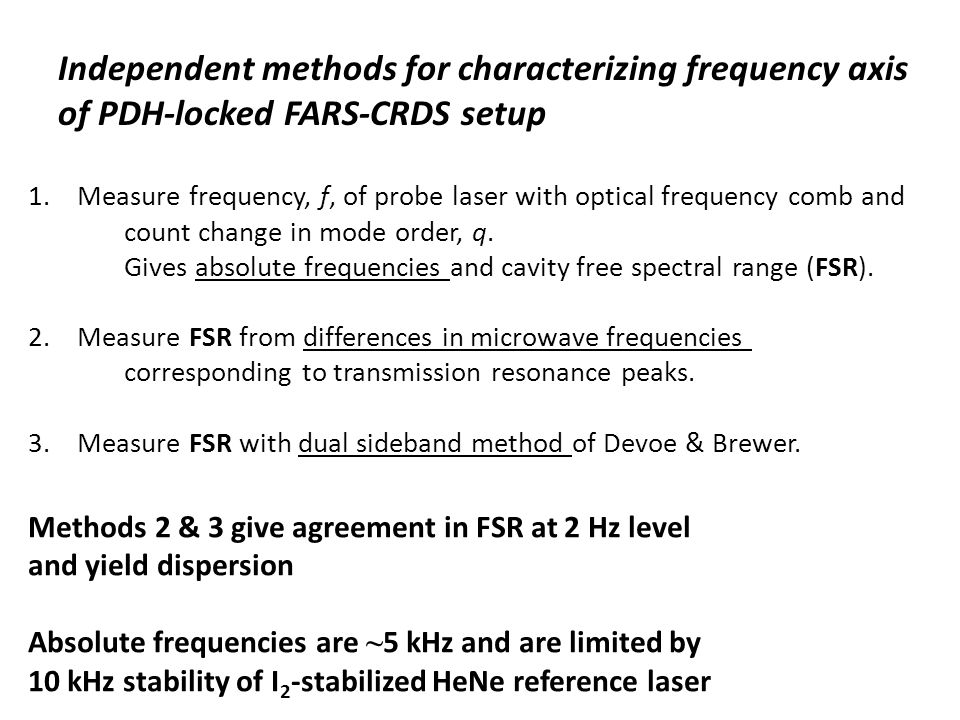 Independent methods for characterizing frequency axis