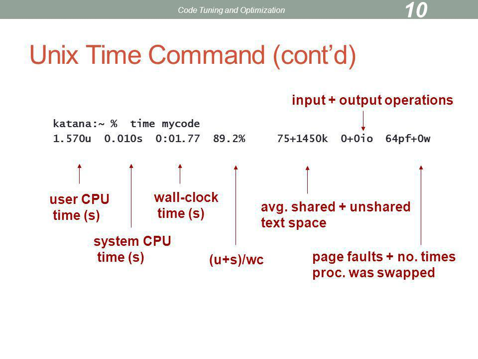 Unix Time Command (cont'd)