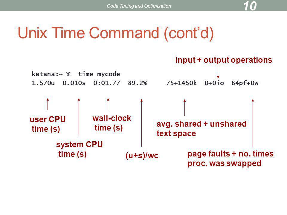 Unix Time Command (cont'd)