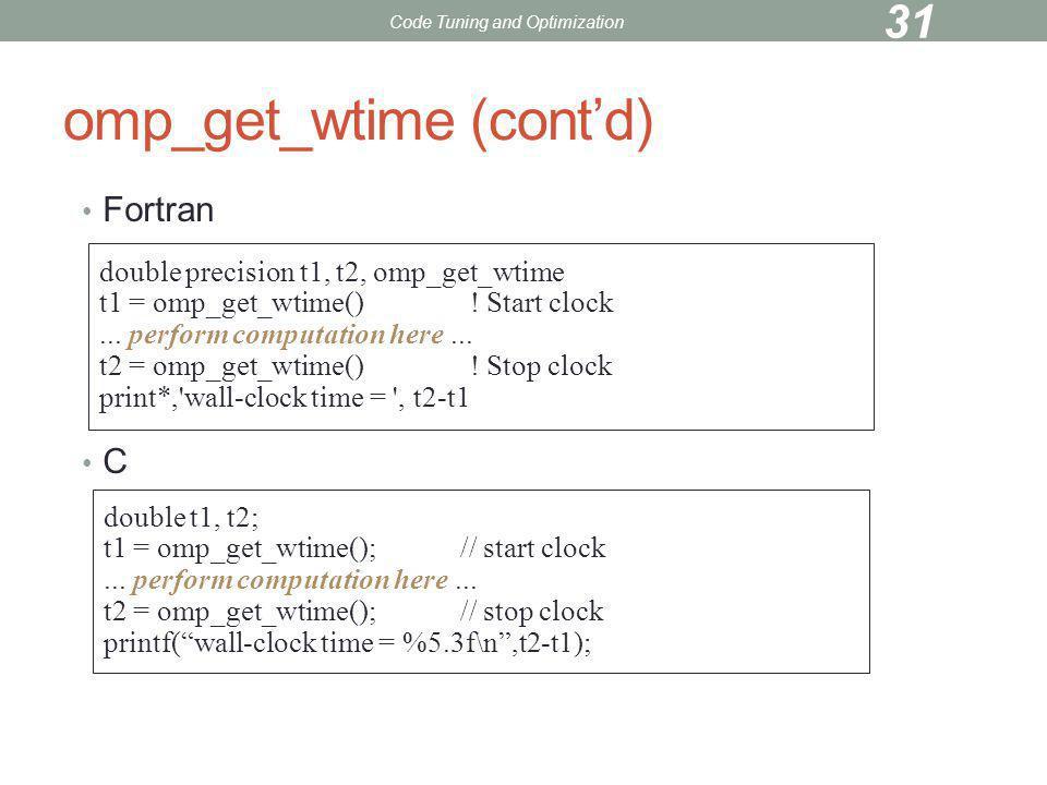 omp_get_wtime (cont'd)