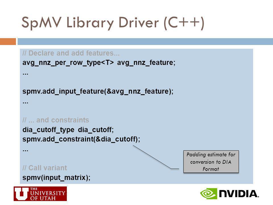 SpMV Library Driver (C++)