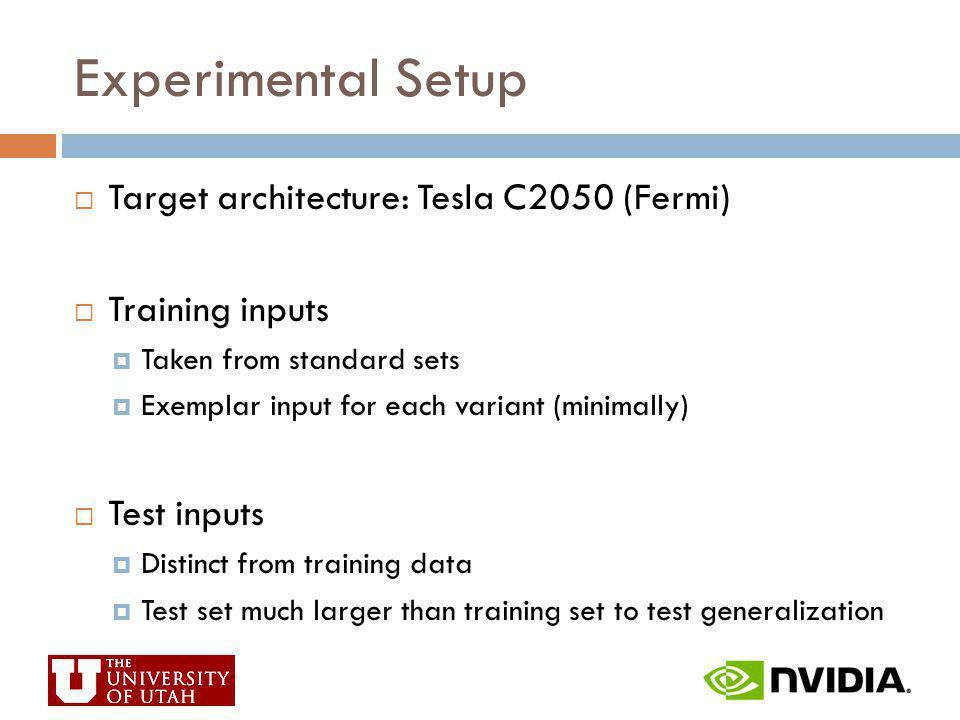 Experimental Setup Target architecture: Tesla C2050 (Fermi)