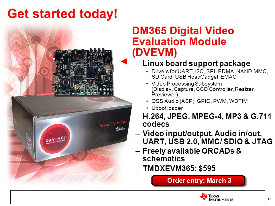 Get started today! DM365 Digital Video Evaluation Module (DVEVM)