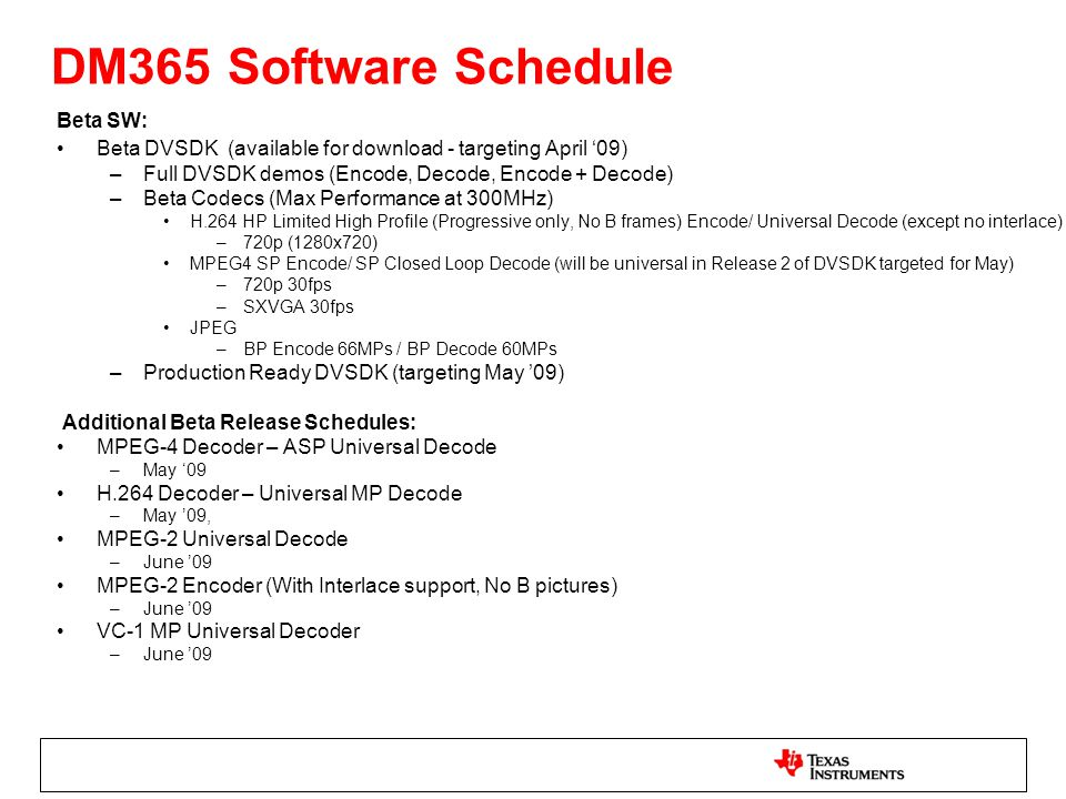 DM365 Software Schedule Beta SW: