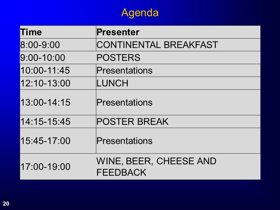 Agenda Time Presenter 8:00-9:00 CONTINENTAL BREAKFAST 9:00-10:00
