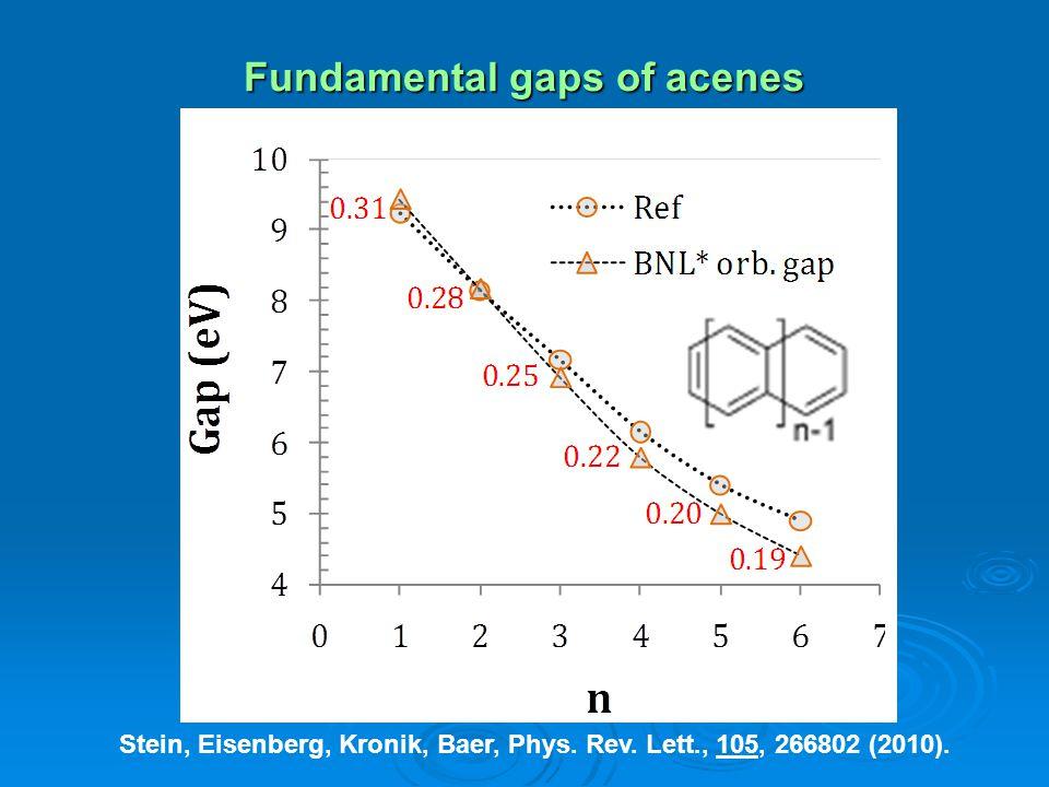 Fundamental gaps of acenes