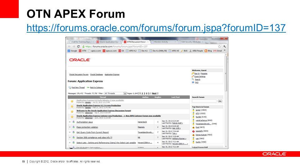 OTN APEX Forum https://forums.oracle.com/forums/forum.jspa forumID=137
