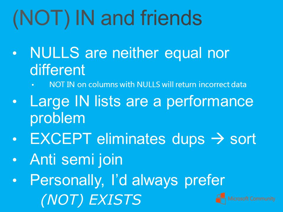 (NOT) IN and friends NULLS are neither equal nor different