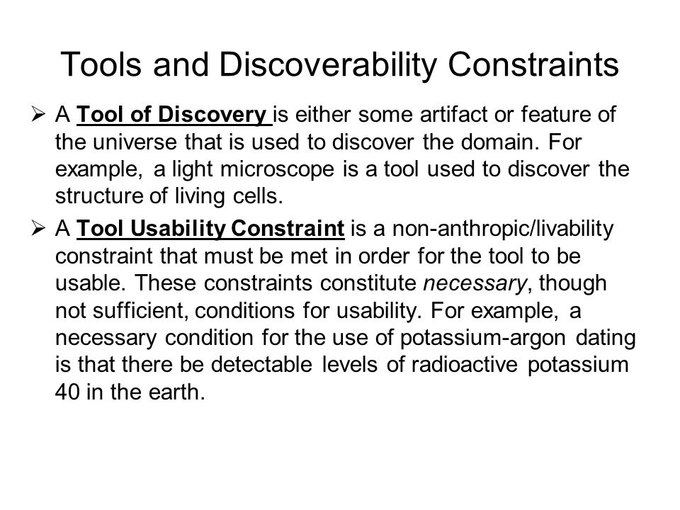 Tools and Discoverability Constraints