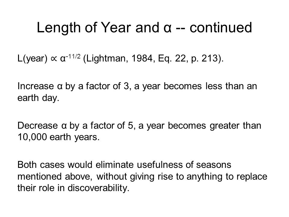 Length of Year and α -- continued