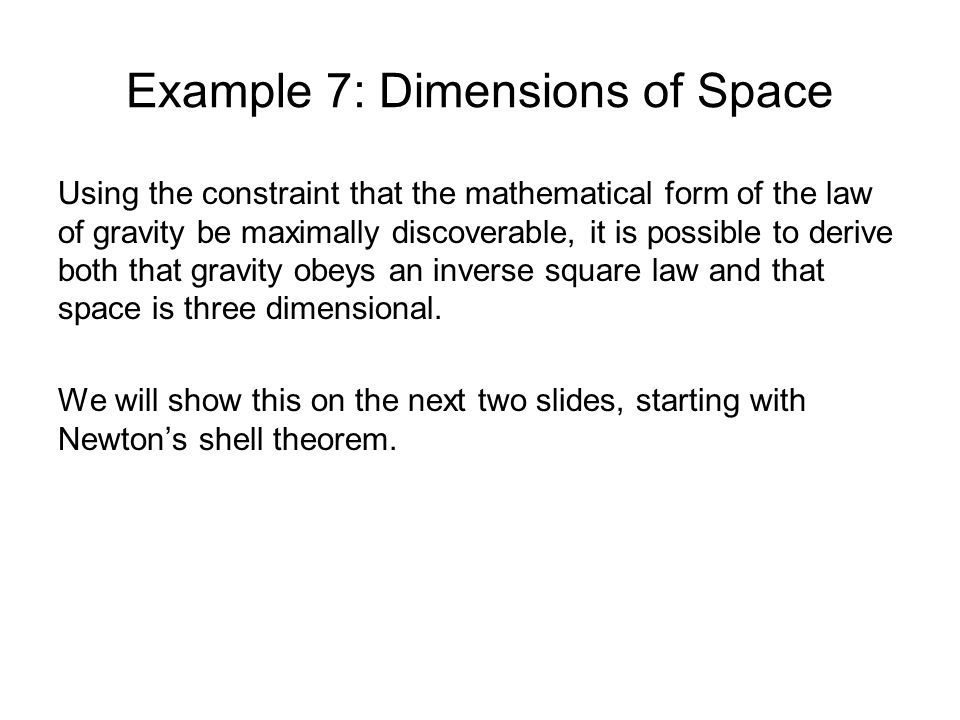 Example 7: Dimensions of Space