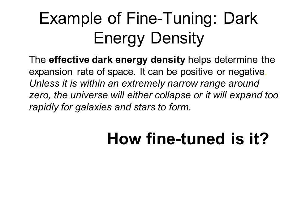 Example of Fine-Tuning: Dark Energy Density