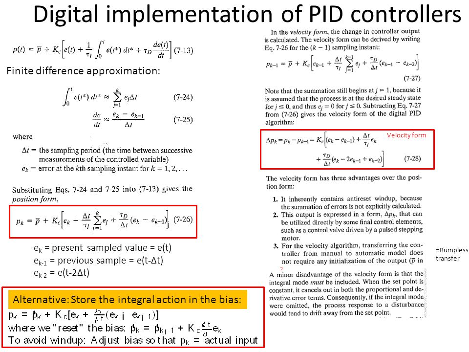 Digital implementation of PID controllers