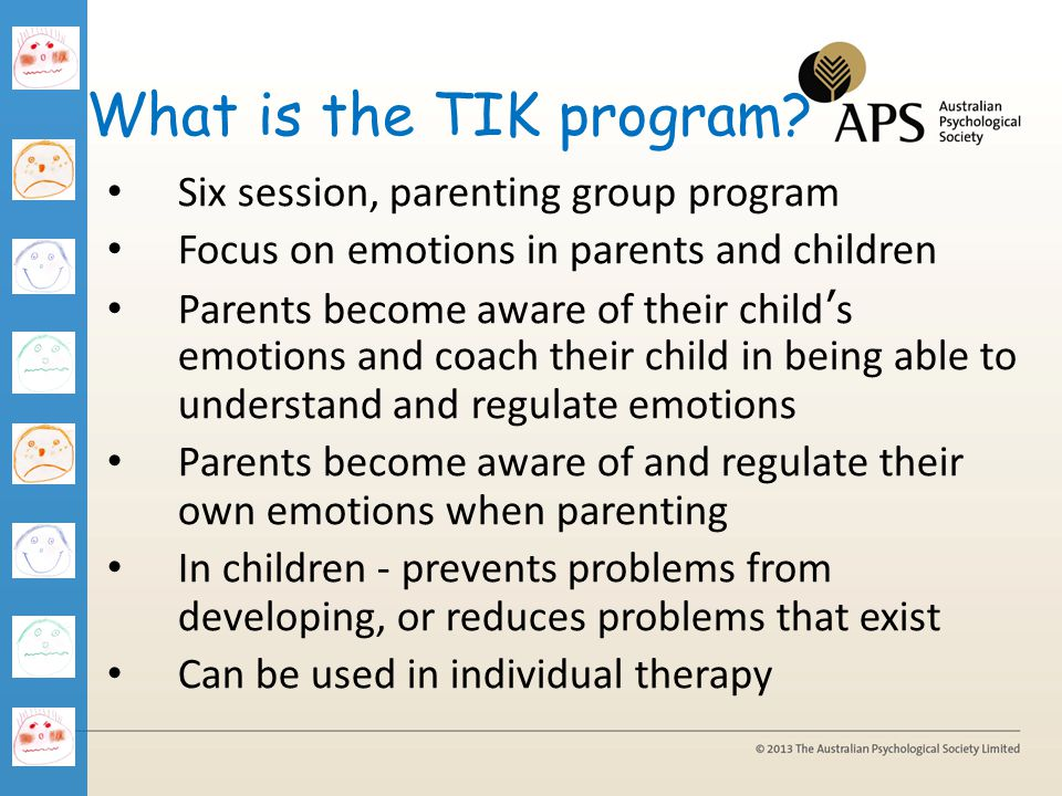 What is the TIK program Six session, parenting group program