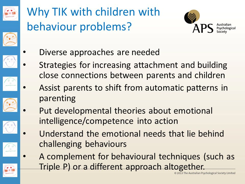 Why TIK with children with behaviour problems