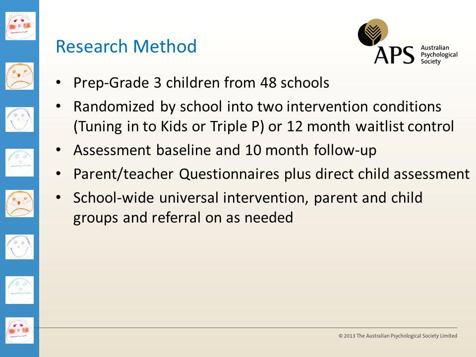 1/04/2017 Research Method. Prep-Grade 3 children from 48 schools.
