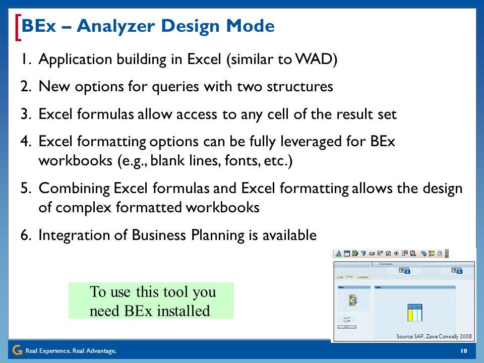 BEx – Analyzer Design Mode