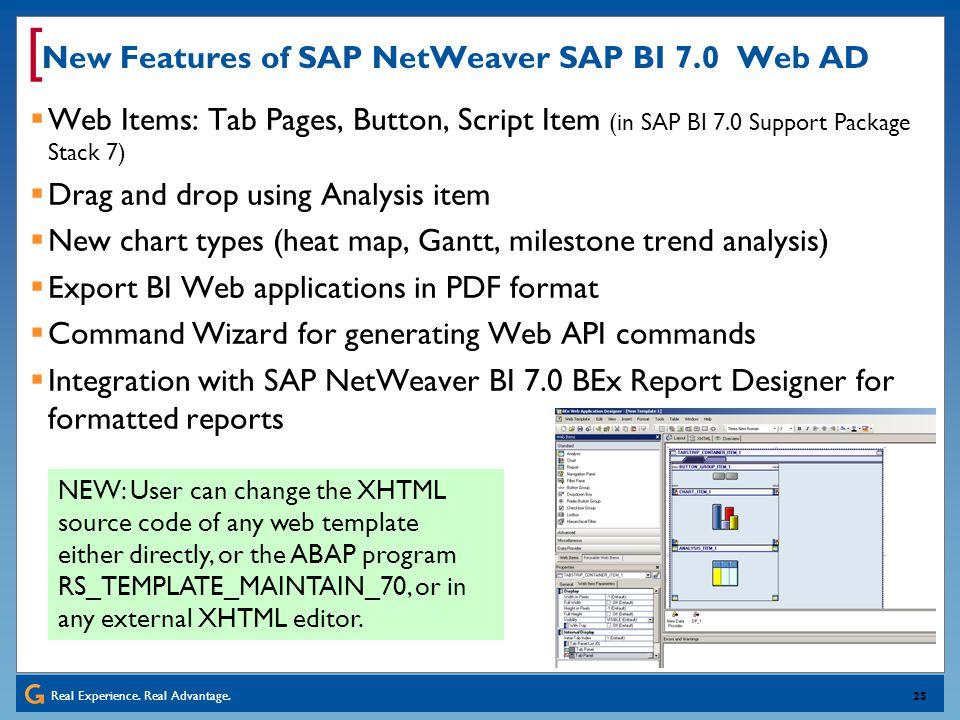 New Features of SAP NetWeaver SAP BI 7.0 Web AD