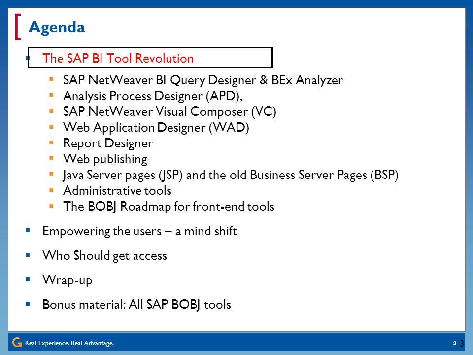 Agenda The SAP BI Tool Revolution