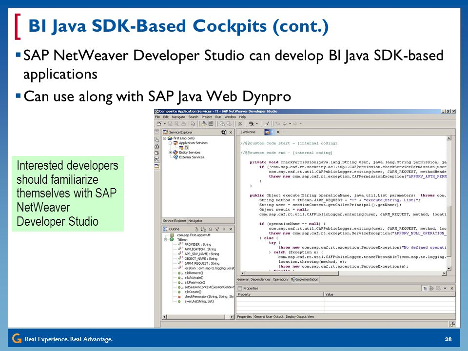 BI Java SDK-Based Cockpits (cont.)