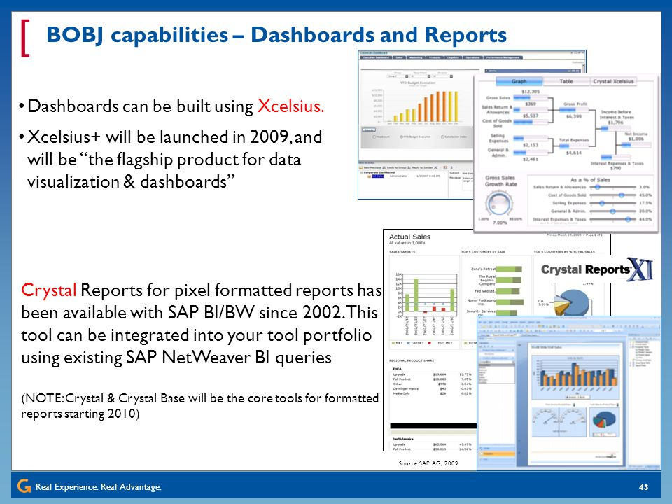 BOBJ capabilities – Dashboards and Reports