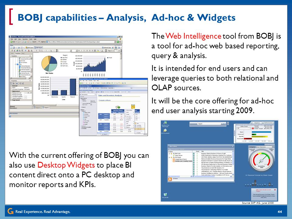 BOBJ capabilities – Analysis, Ad-hoc & Widgets