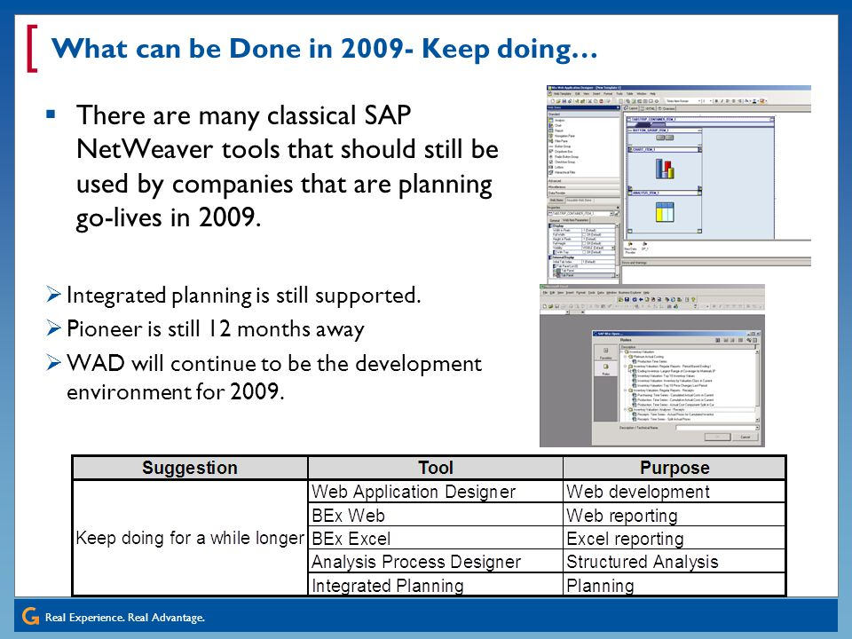 What can be Done in 2009- Keep doing…