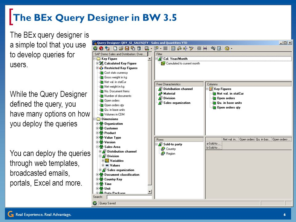 The BEx Query Designer in BW 3.5