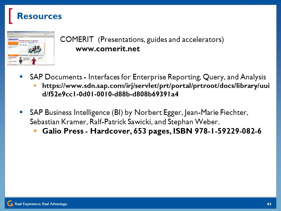 Resources COMERIT (Presentations, guides and accelerators) www.comerit.net.