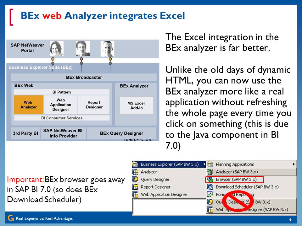 BEx web Analyzer integrates Excel