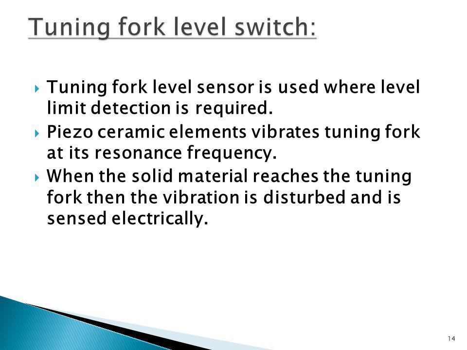 Tuning fork level switch: