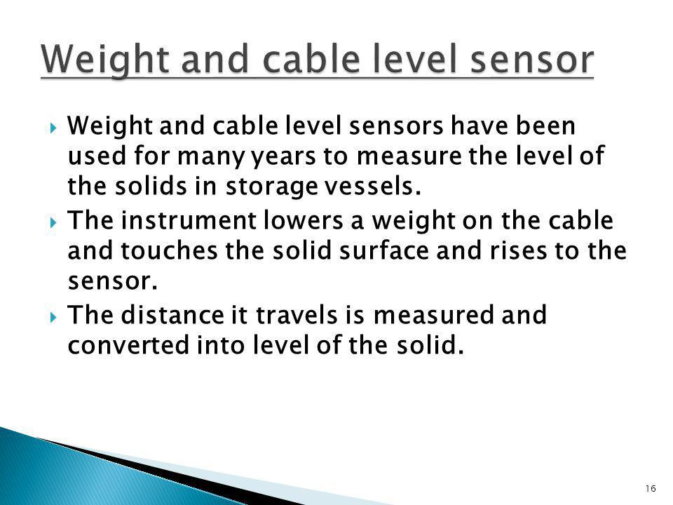 Weight and cable level sensor
