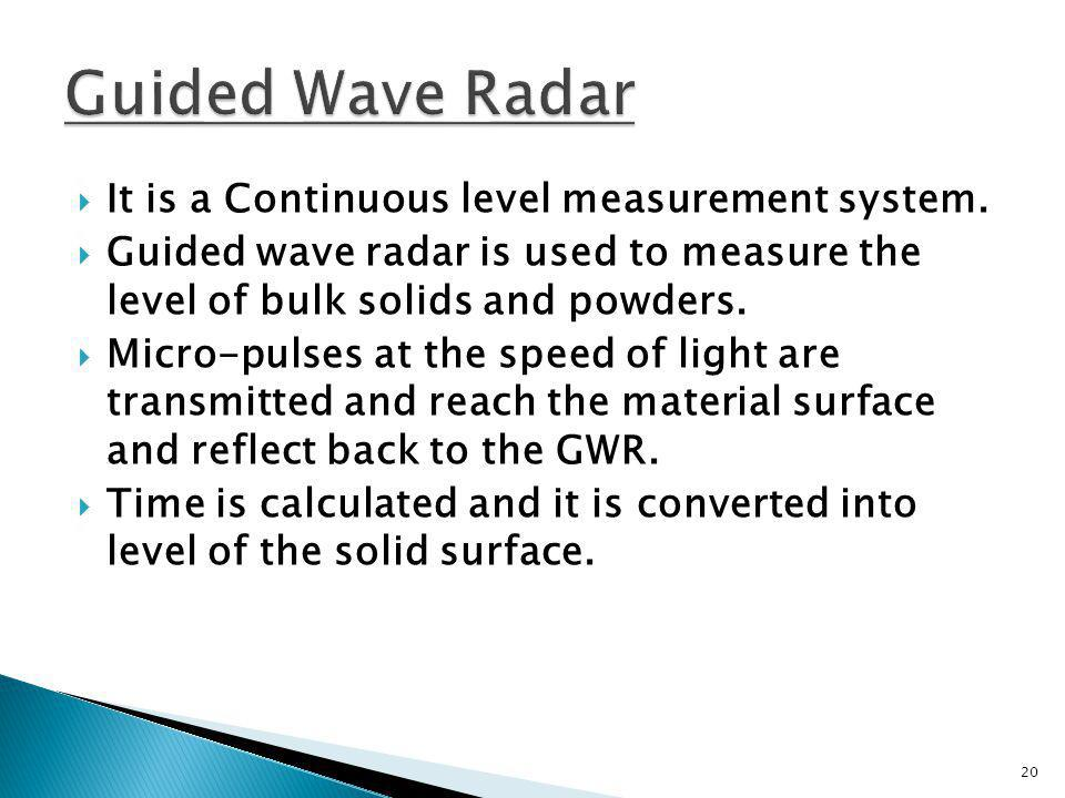 Guided Wave Radar It is a Continuous level measurement system.