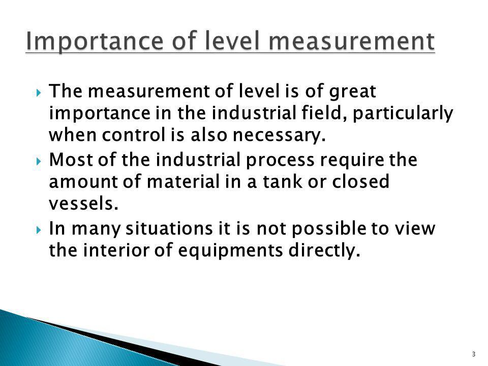 Importance of level measurement