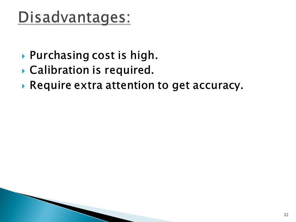 Disadvantages: Purchasing cost is high. Calibration is required.