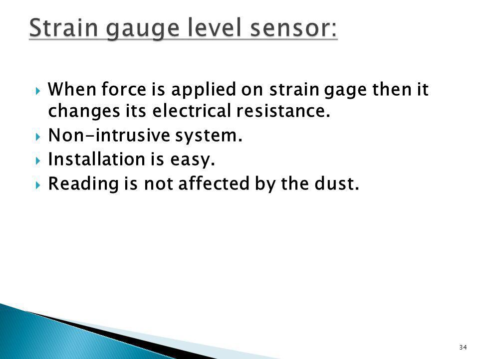 Strain gauge level sensor: